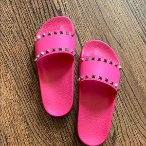 Valentino Pink Rockstud Slides